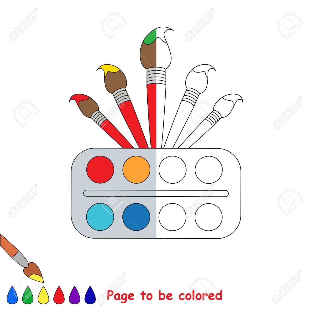 Acuarela Y Pinceles Para Colorear El Libro Para Colorear Para