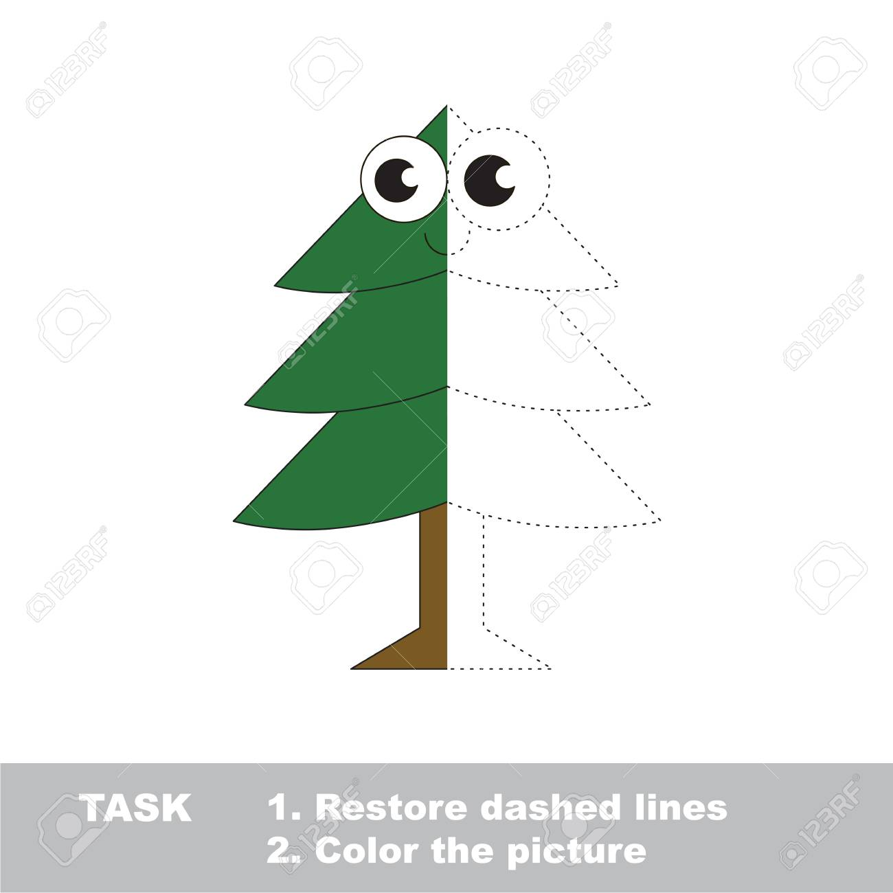 Evergreen Tree In Vector To Be Traced, Restore Dashed Line And ...