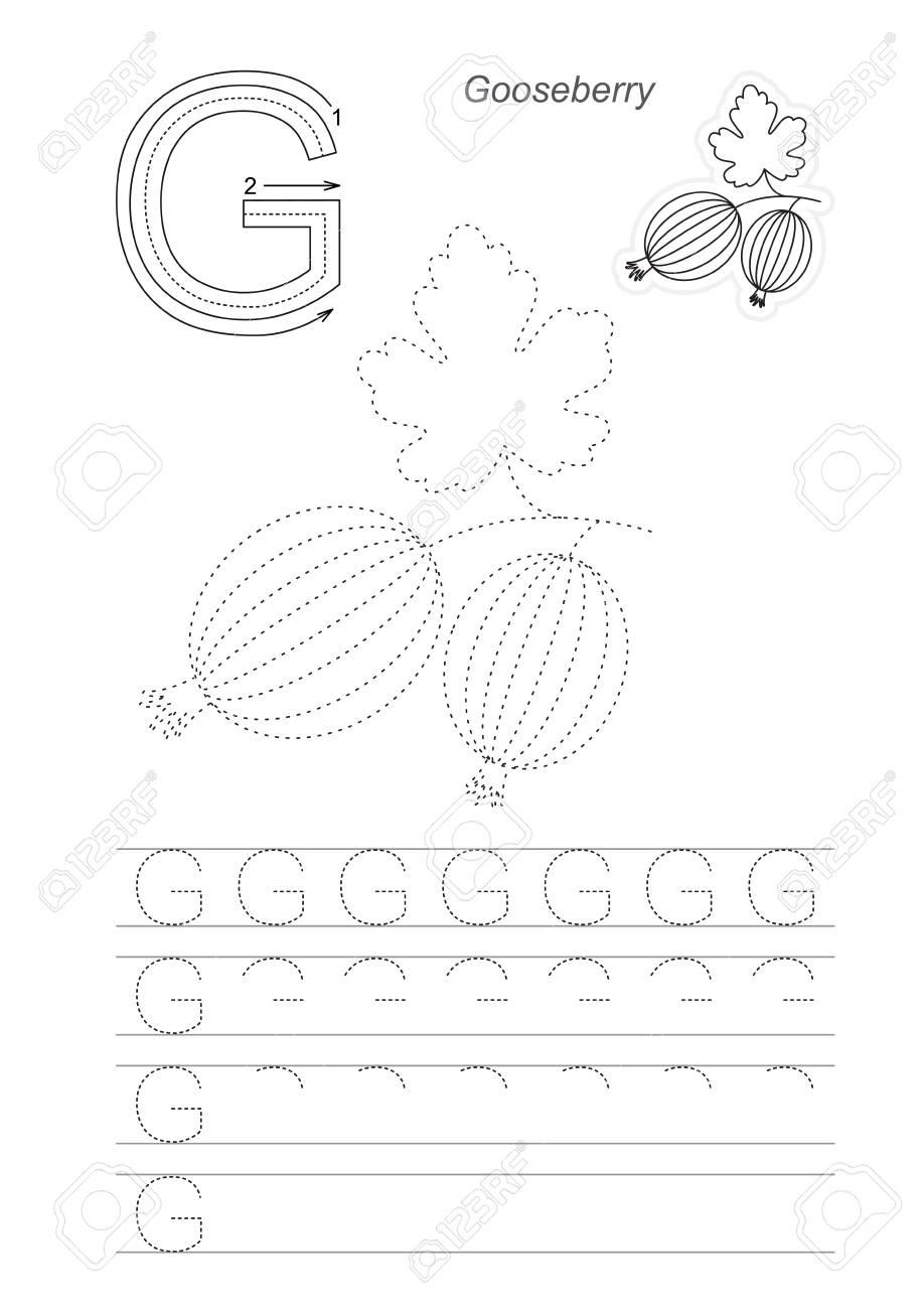 Vector illustrated worksheet to preschool children learn handwriting...