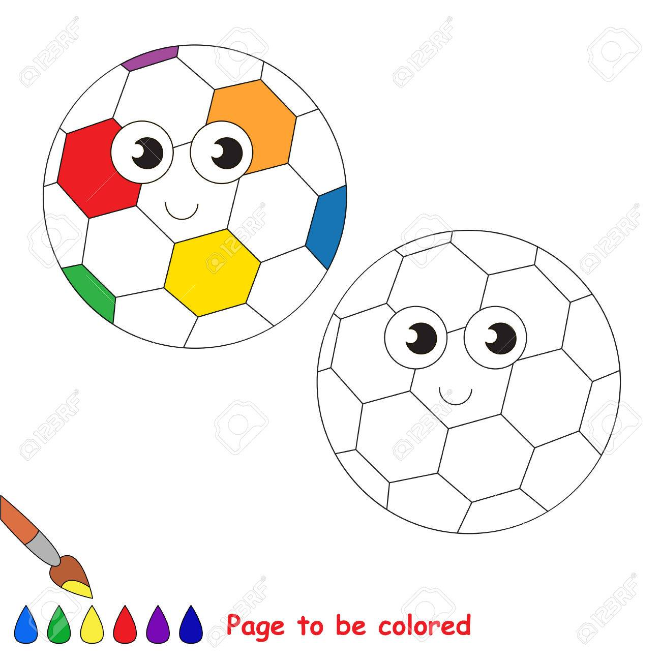 Rainbow Football Ball To Be Colored, The Coloring Book To Educate ...