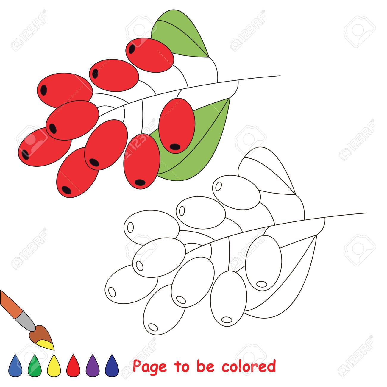 Educational Worksheet To Be Colored By Sample Easy Paint Game For Preschool Kids