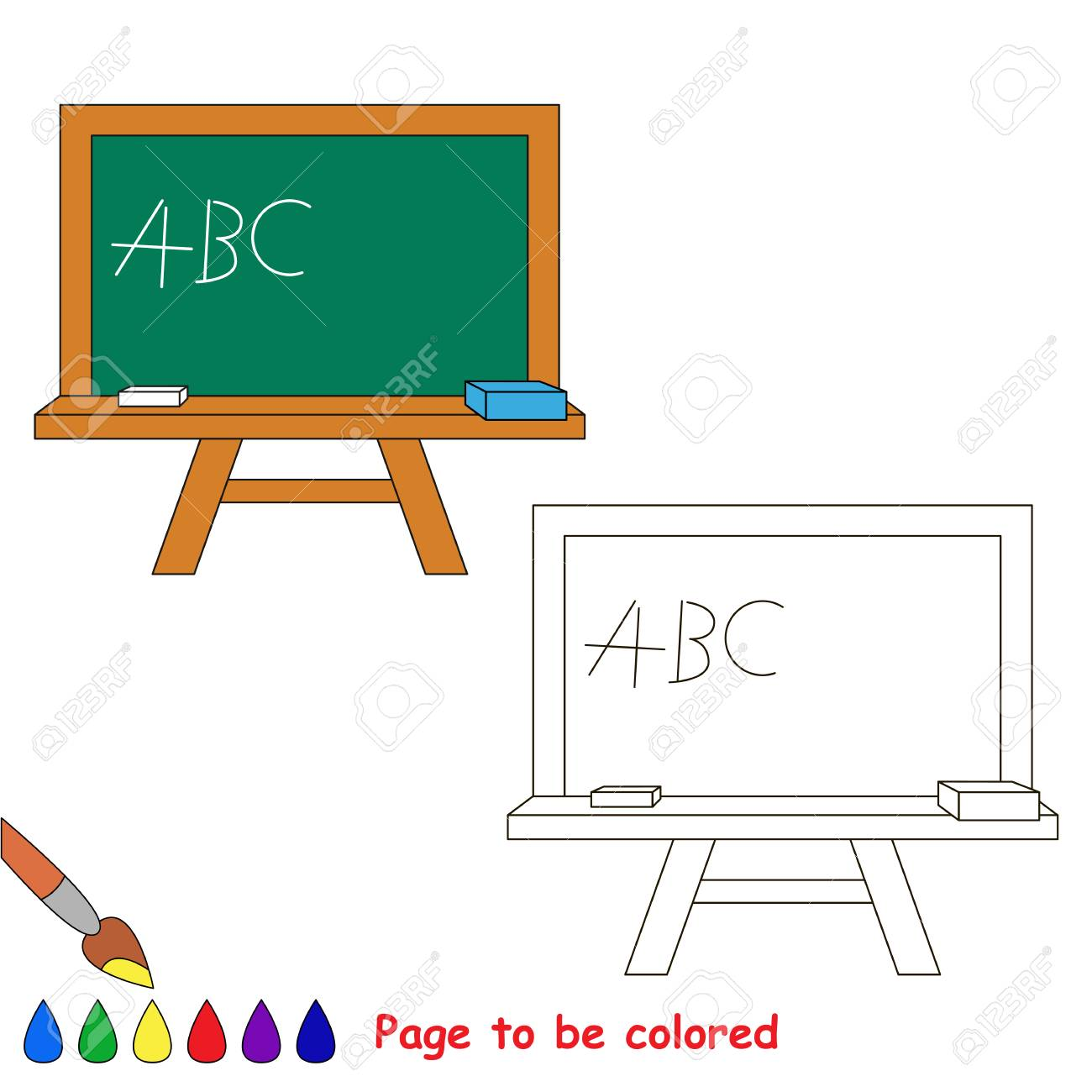 Green Board to be colored, the coloring book to educate preschool..