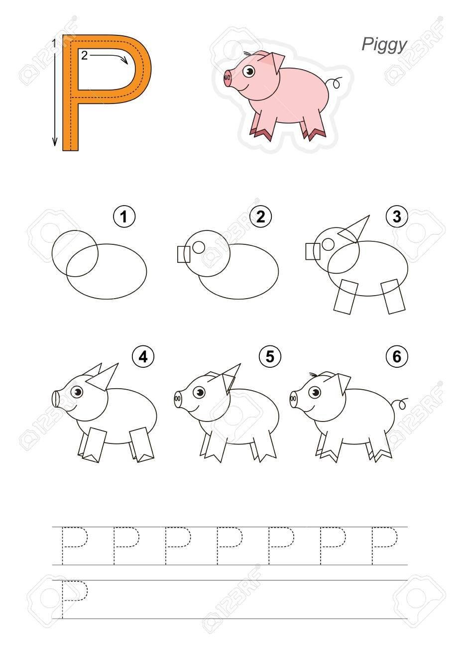 Alphabet Illustré De Vecteur Avec Des Jeux éducatifs Enfant Pour Apprendre L écriture Avec Un Niveau De Jeu Facile Pour Les Enfants D âge Préscolaire