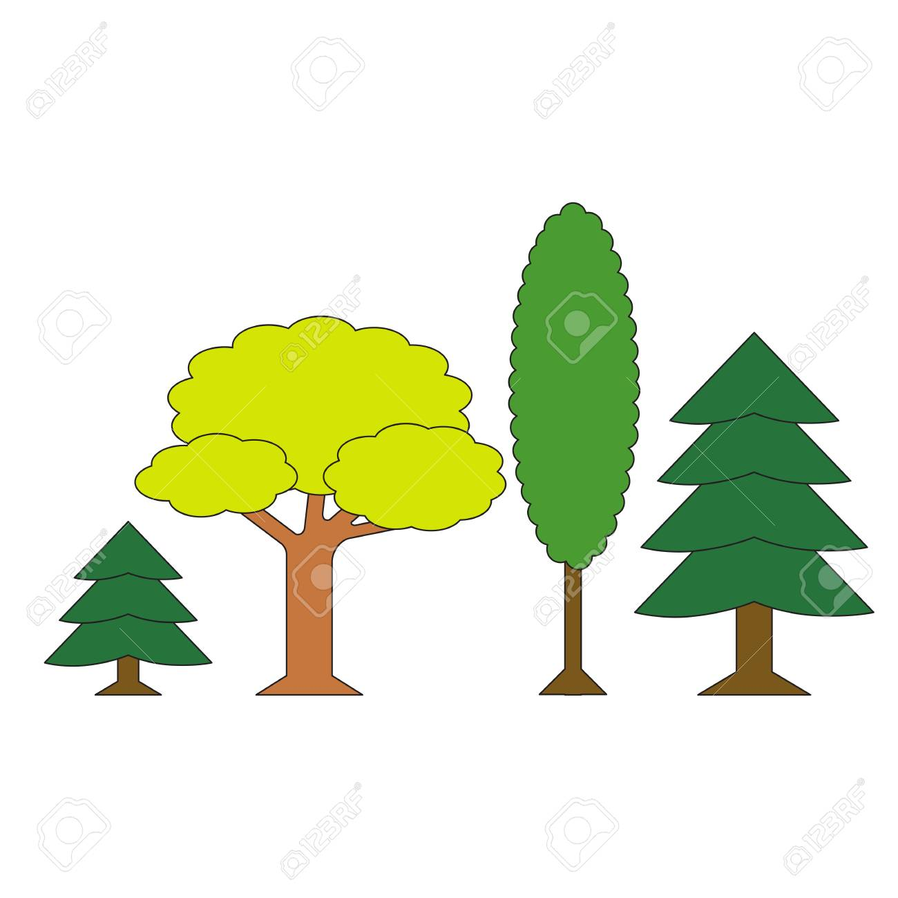 Different Forest Trees Cartoon Outlined Object With Black Stroke Royalty Free Cliparts Vectors And Stock Illustration Image 73790085 Animal cartoon in jungle with blank sign. different forest trees cartoon outlined object with black stroke