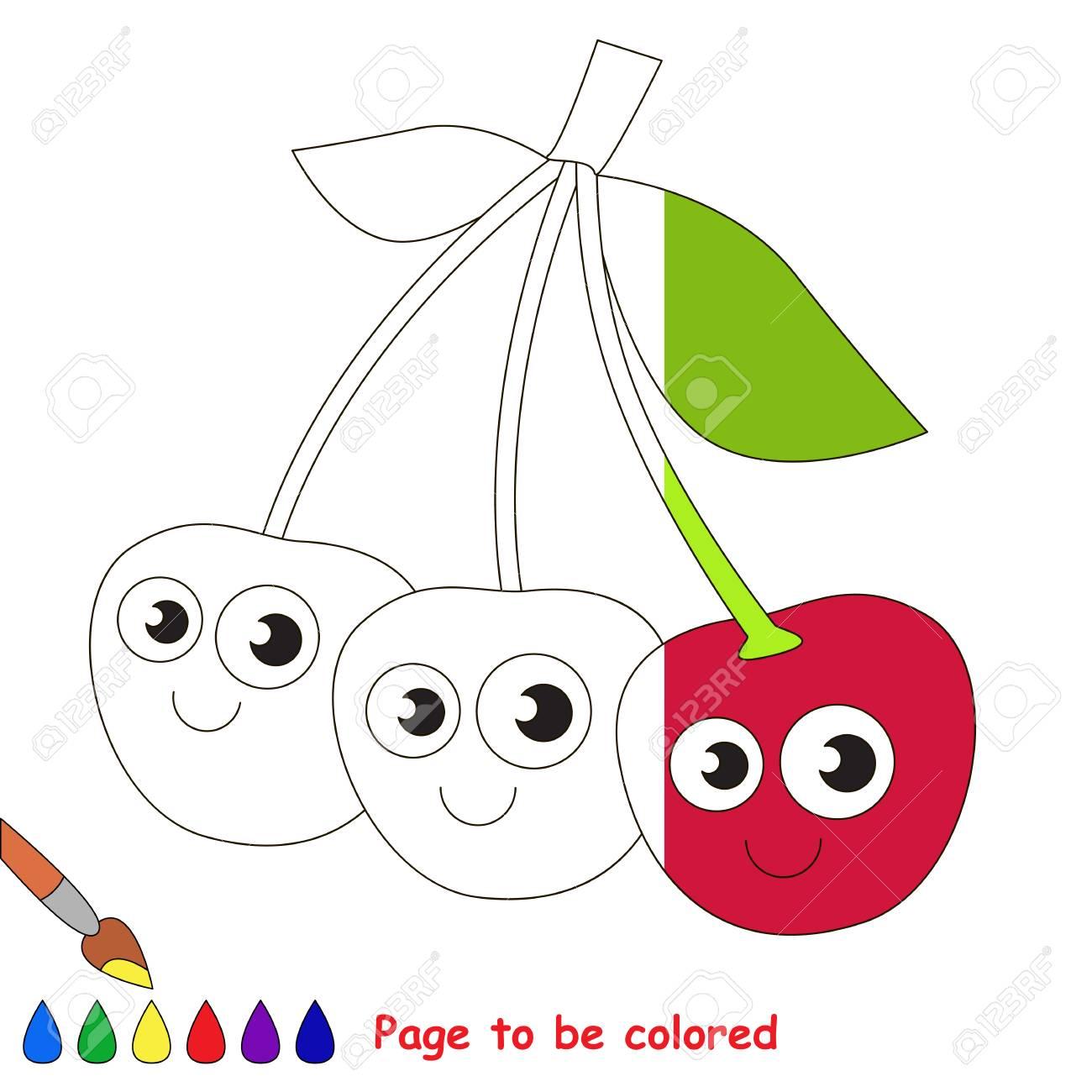 Vettoriale Ciliegia Rossa Da Colorare Il Libro Da Colorare Per