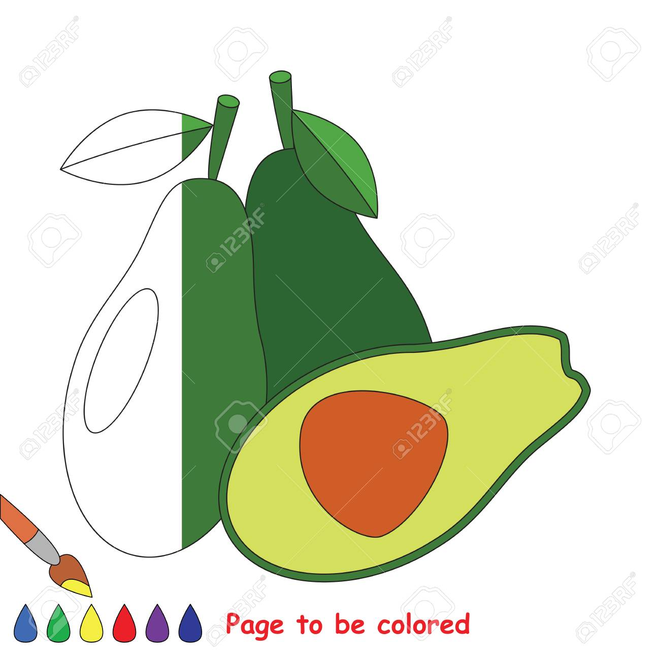 Avocado To Be Colored, The Coloring Book To Educate Preschool ...