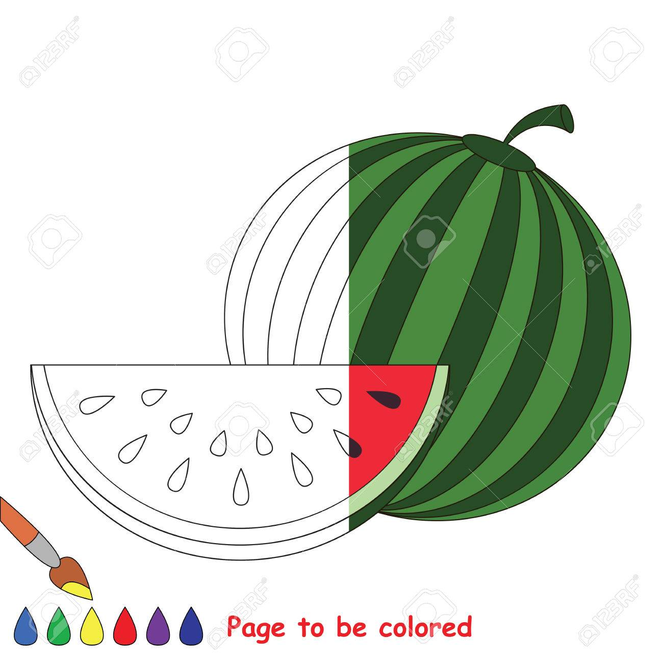 Watermelon And Slice To Be Colored The Coloring Book To Educate