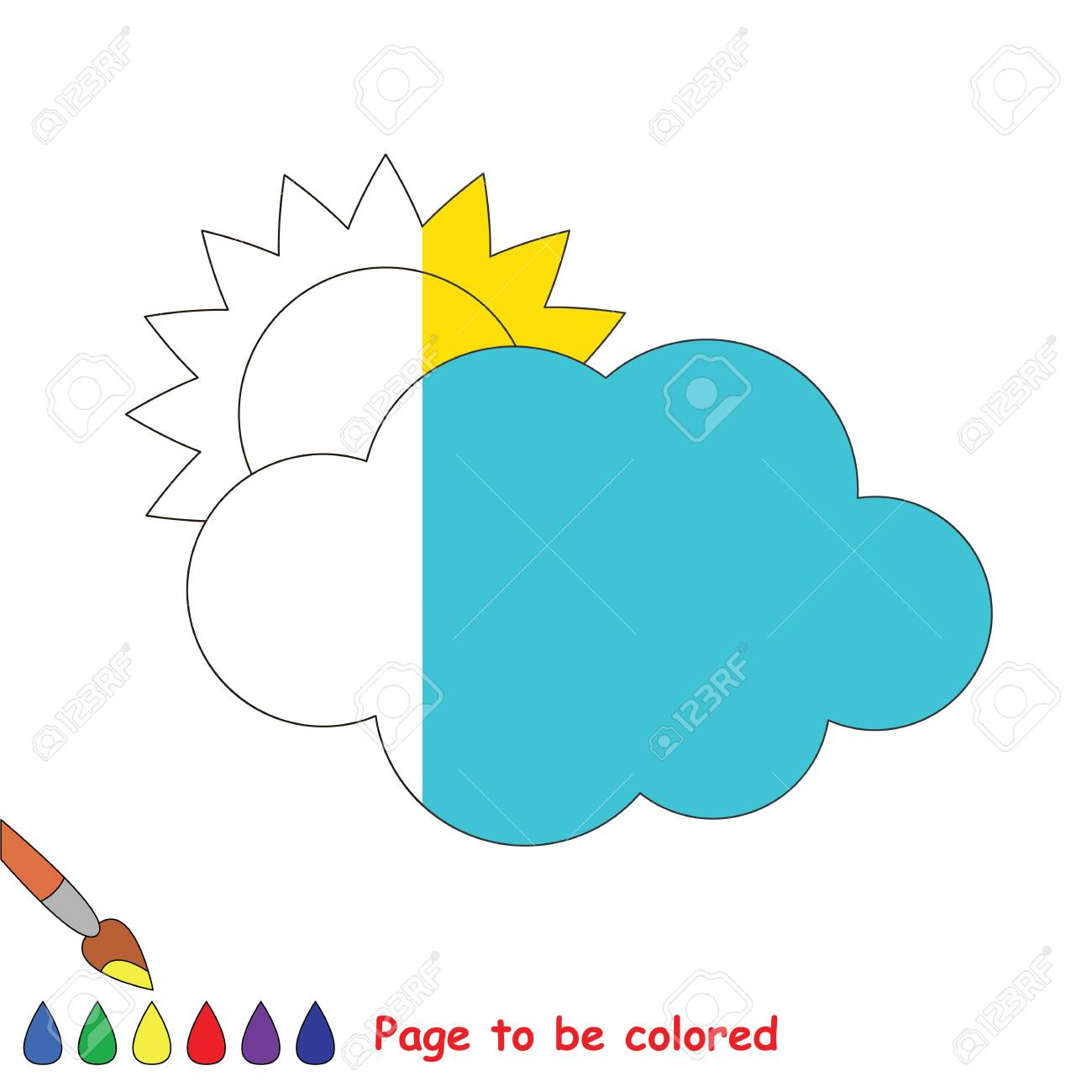 Sun And Cloud To Be Colored, The Coloring Book To Educate Preschool ...