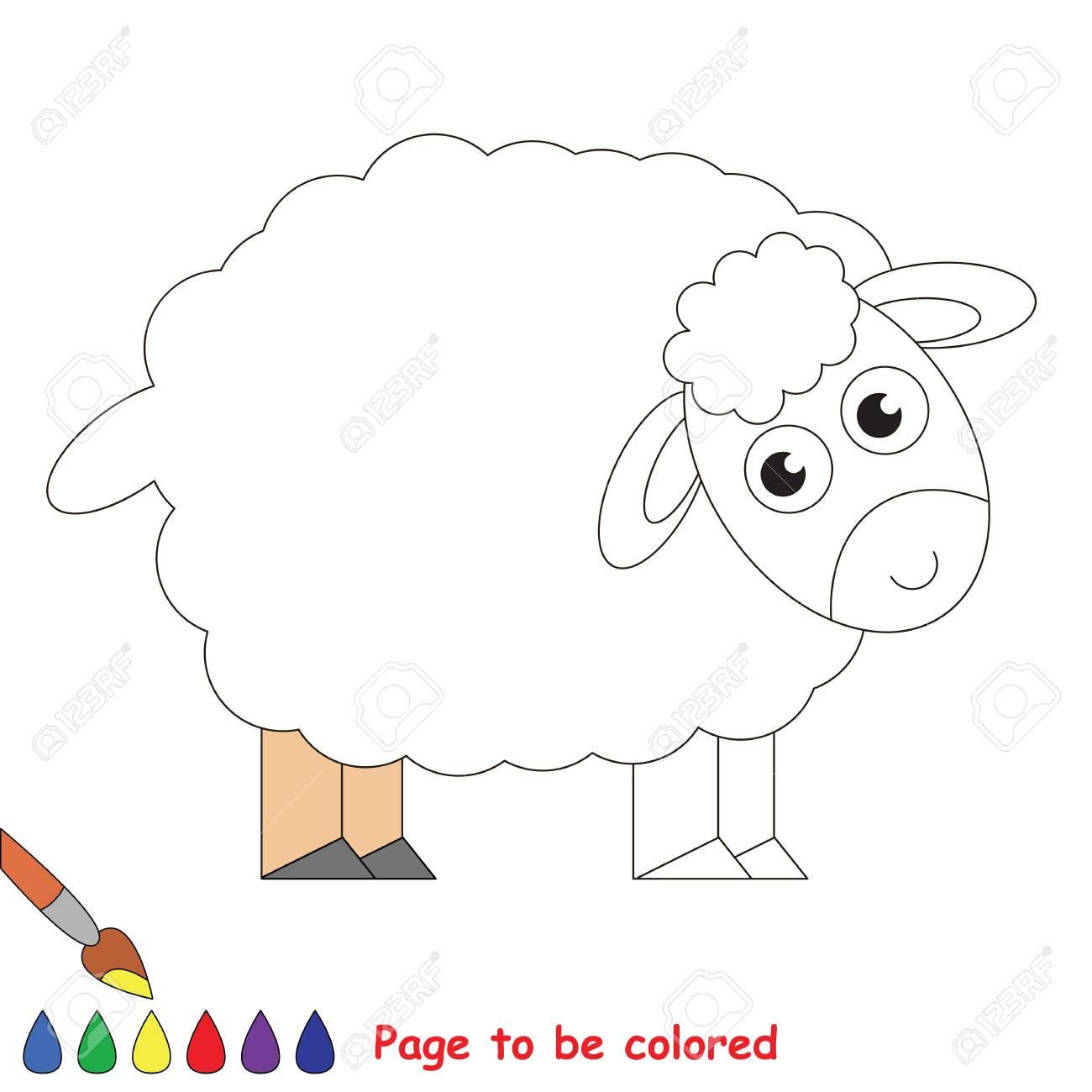 Vettoriale Cute Pecore Da Colorare Il Libro Da Colorare Per Educare I Bambini In Eta Prescolare Con Giochi Educativi Per Bambini Facili E L Istruzione Primaria Di Semplice Livello Di Gioco Image