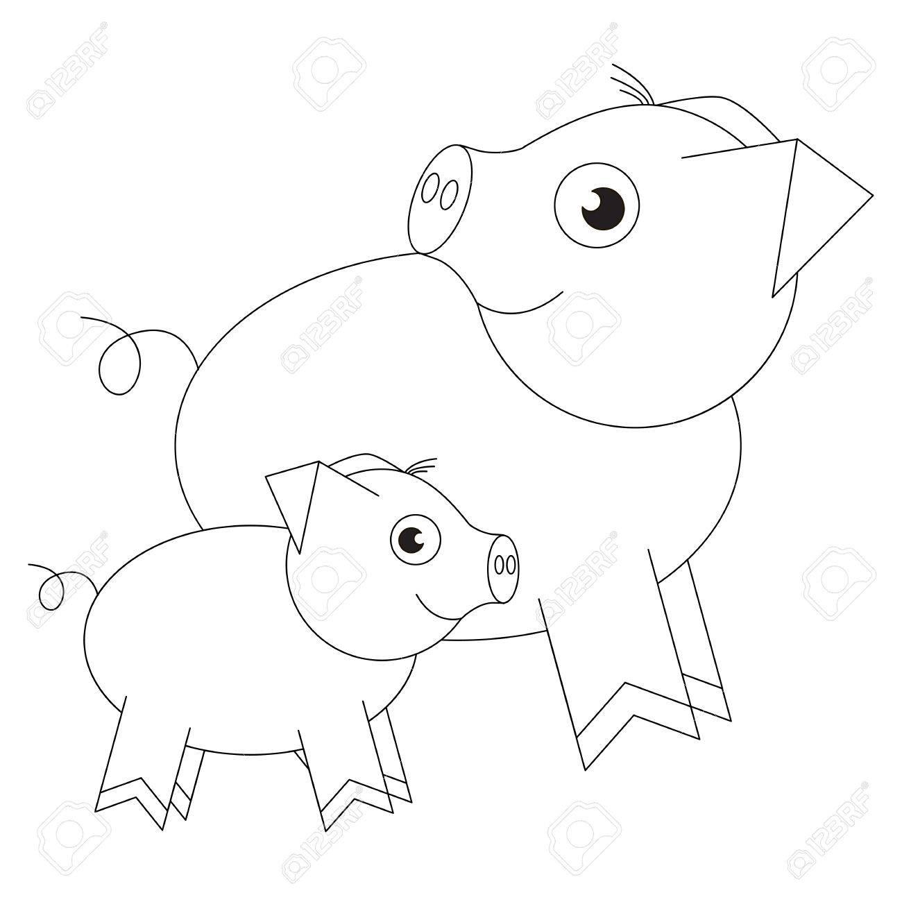 Cerdito Madre Y Cerdito Bebé De Dibujos Animados. Objeto Contorneado ...