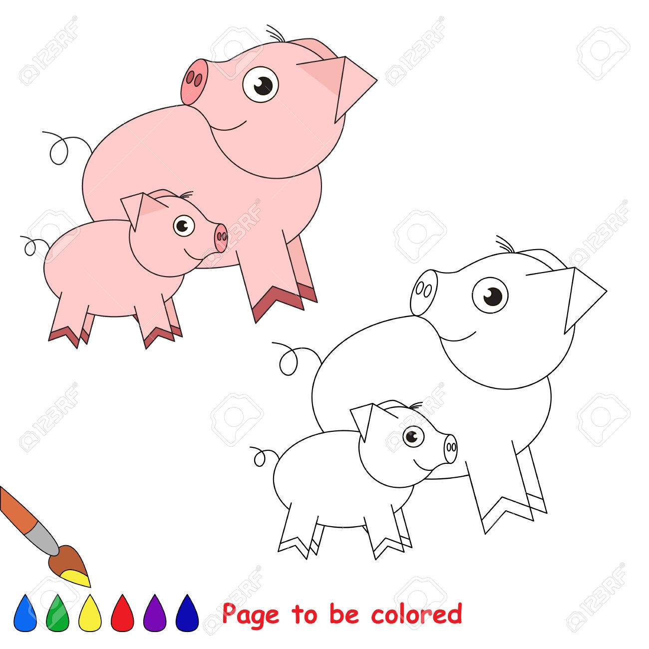 Madre De Cochinillo Y Su Bebé A Ser De Color, El Libro De Colorear ...