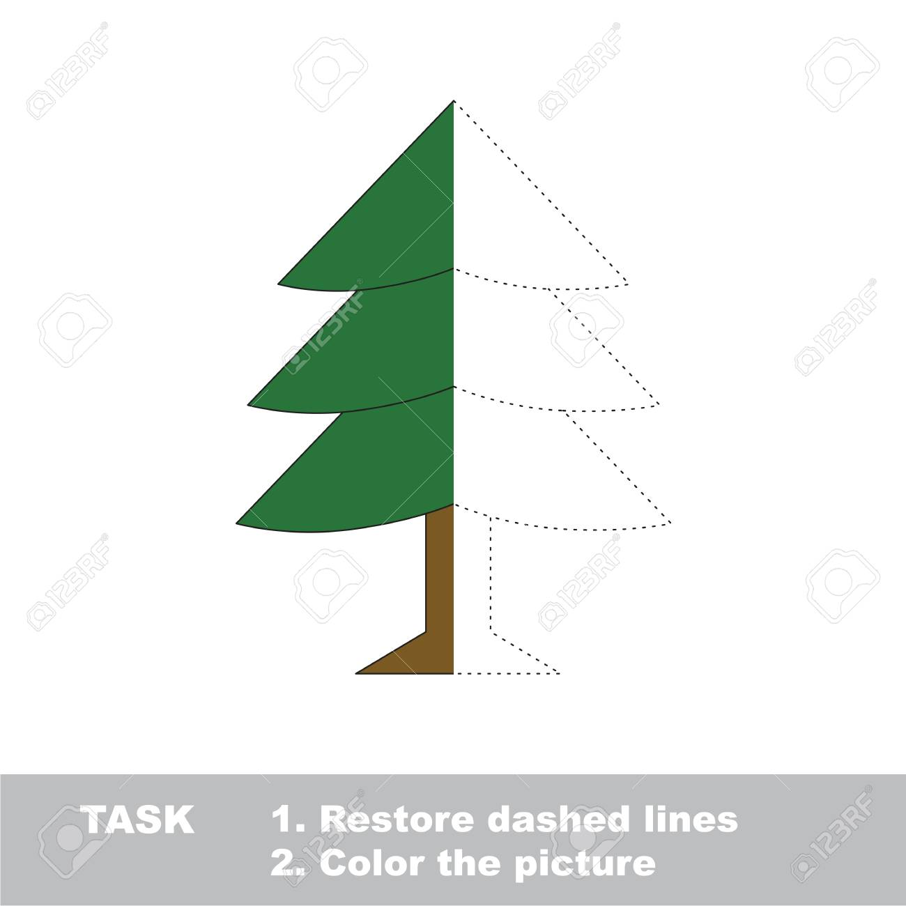 Fur Tree In Vector To Be Traced, Restore Dashed Line And Color ...