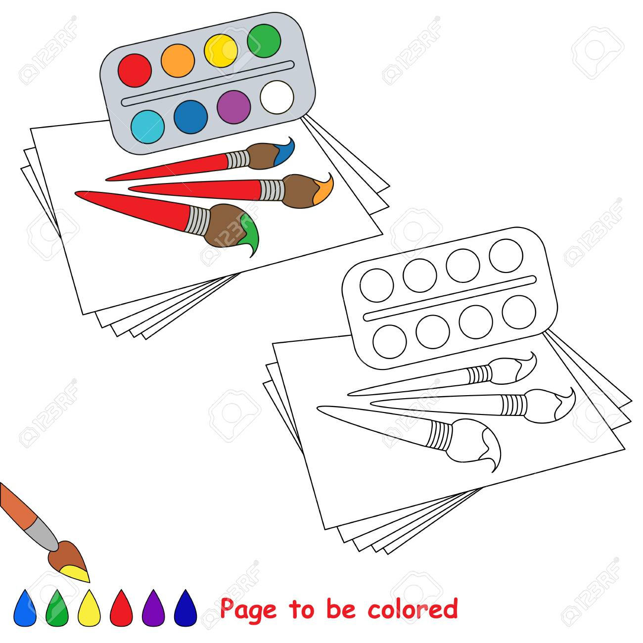 Watercolor Brushes And Paper To Be Colored The Coloring Book