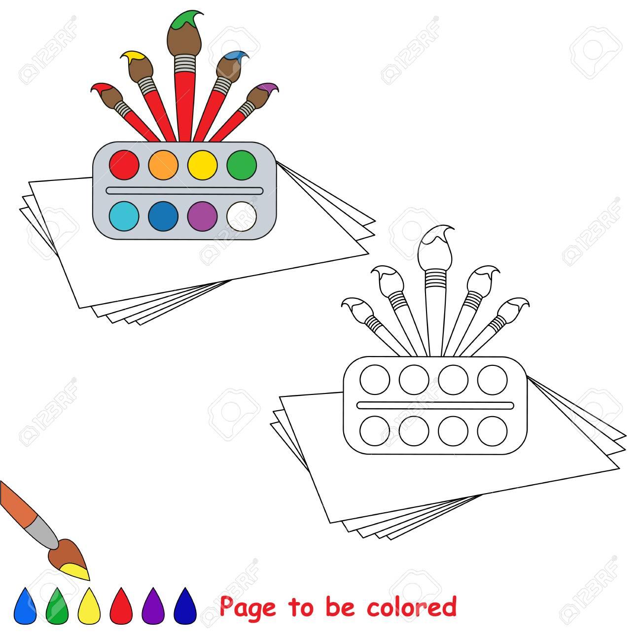 Vettoriale Acquerelli E Pennelli Da Colorare Il Libro Da Colorare Per Educare I Bambini In Eta Prescolare Con Giochi Educativi Per Bambini Facili E L Istruzione Primaria Di Semplice Livello Di Gioco