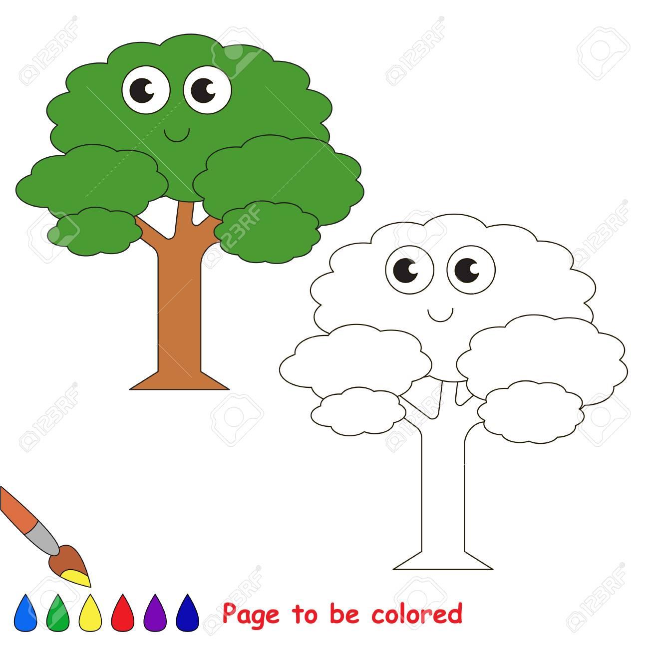 Divertido árbol De Hojas Verdes Para Colorear El Libro Para Colorear Para Educar A Los Niños En Edad Preescolar Con Juegos Educativos Fáciles Para