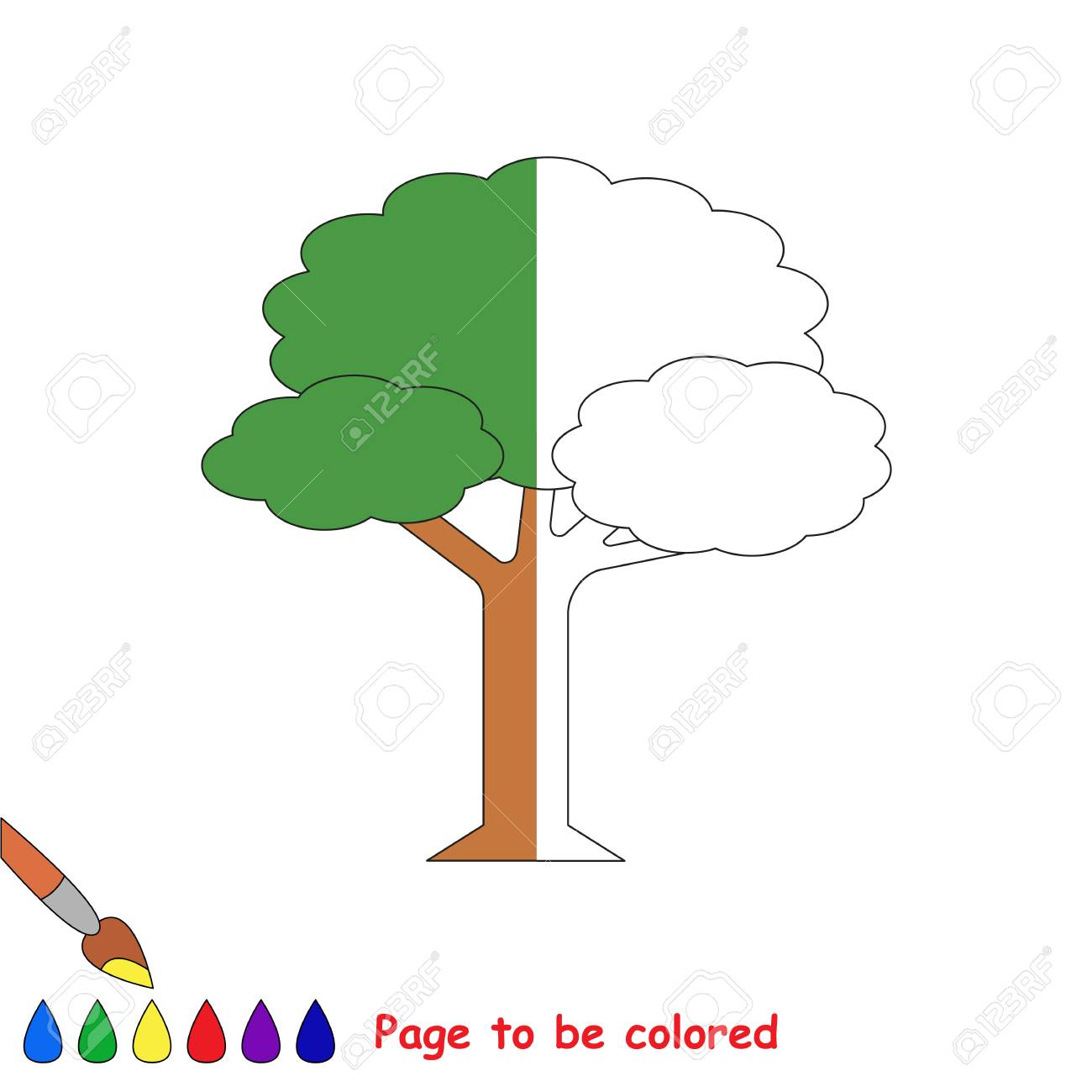Leaf Tree To Be Colored, The Coloring Book To Educate Preschool ...