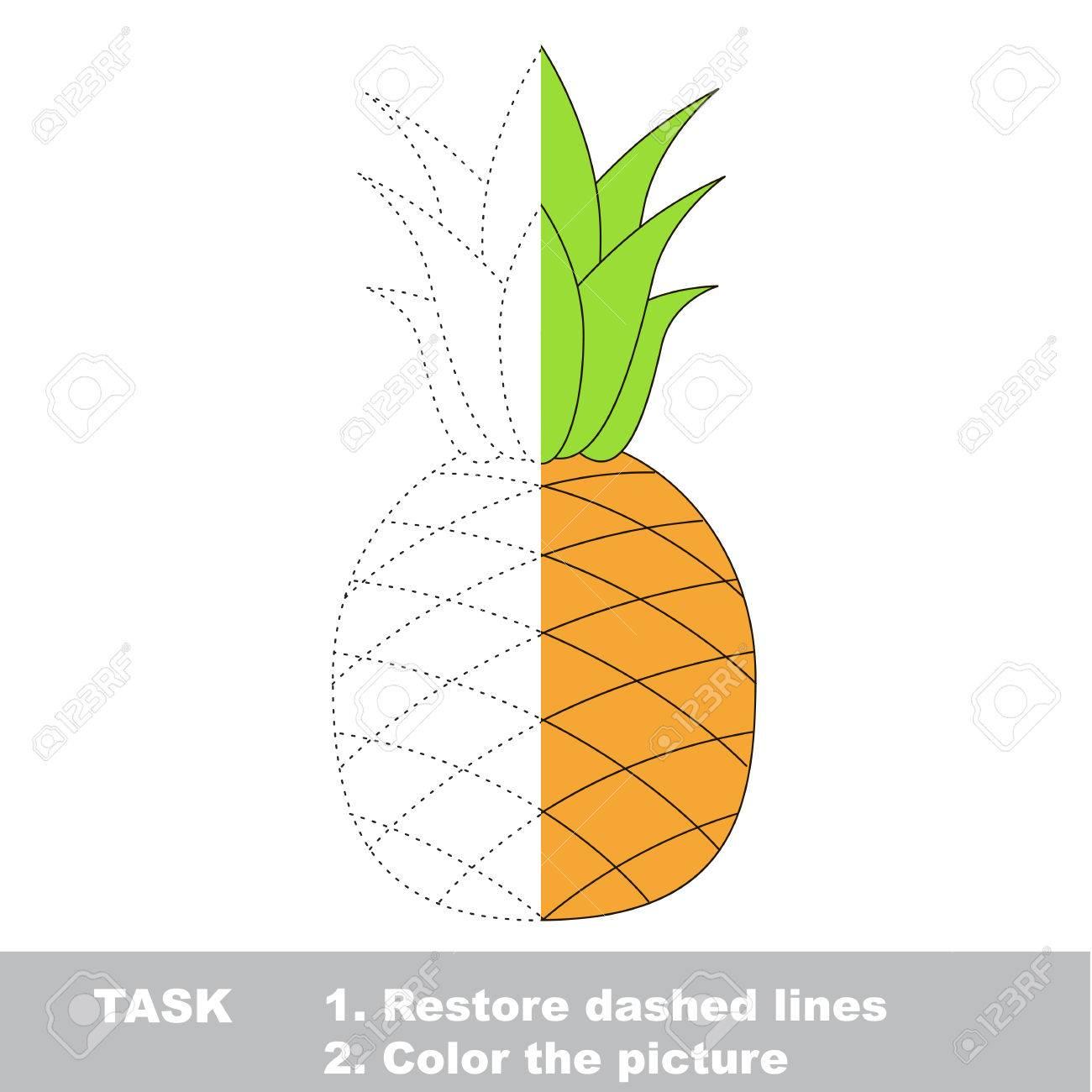 Frucht Zu Färben. Vektor-Trace-Spiel. Lizenzfrei Nutzbare ...