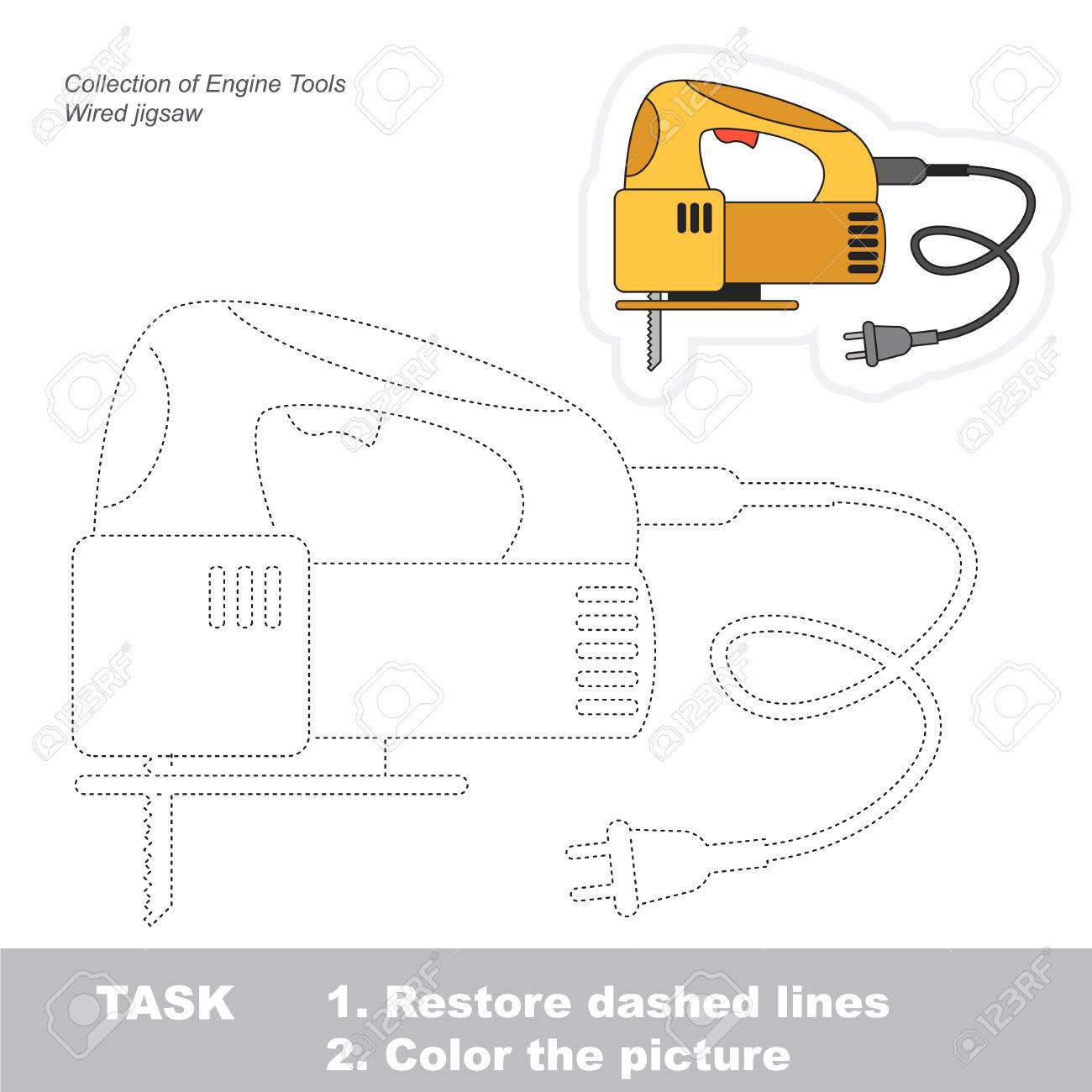 Trace Game For Engine Tool Object From Set Of Power Tools Royalty Lighting Diagram Stock Vector