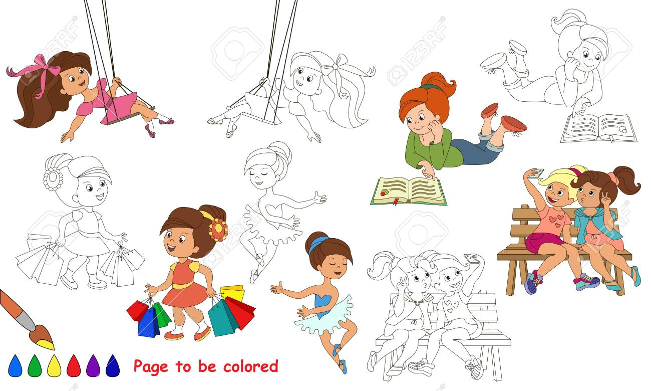 Niñas Lindas Para Ser Coloreadas Libro De Colorear Para Educar A Los Niños Aprende Colores Juego Educativo Visual Fácil Juego Para Niños Y
