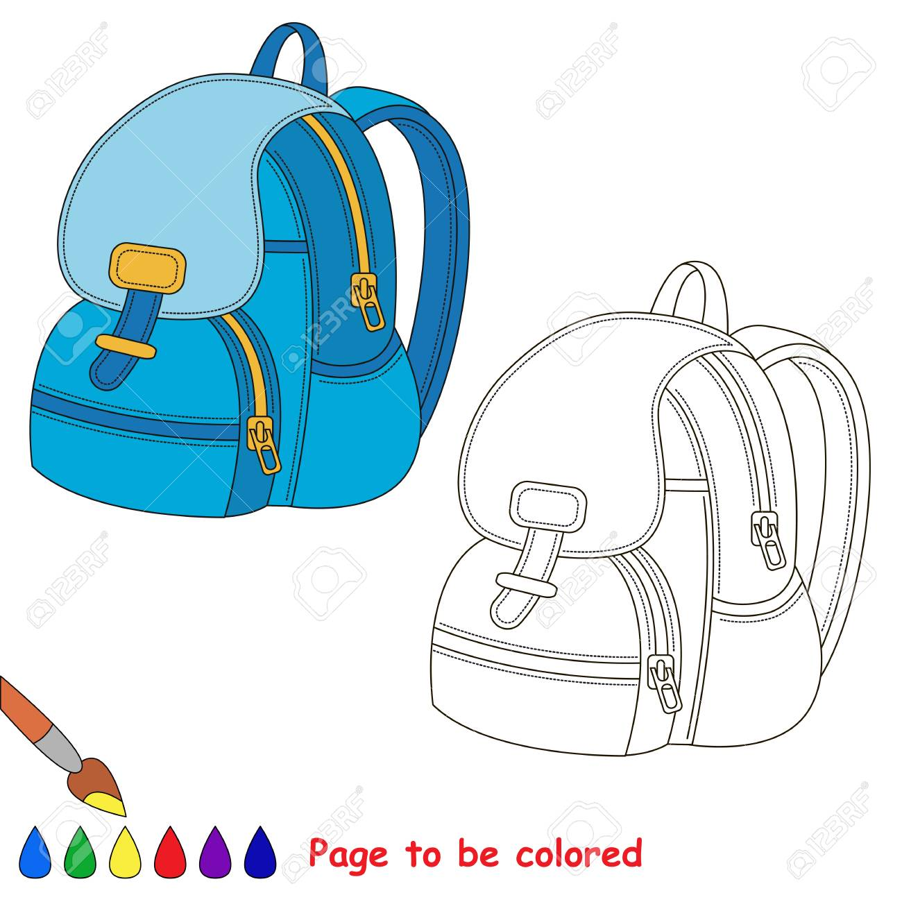 Blue Backpack To Be Colored, The Coloring Book To Educate Preschool ...