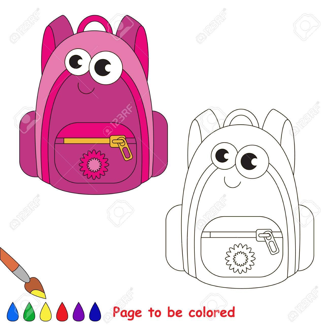 Bolso De Escuela Para Colorear Libro Para Colorear Para Educar A Los Niños Aprende Colores Juego Educativo Visual Nivel Simple Páginas Para
