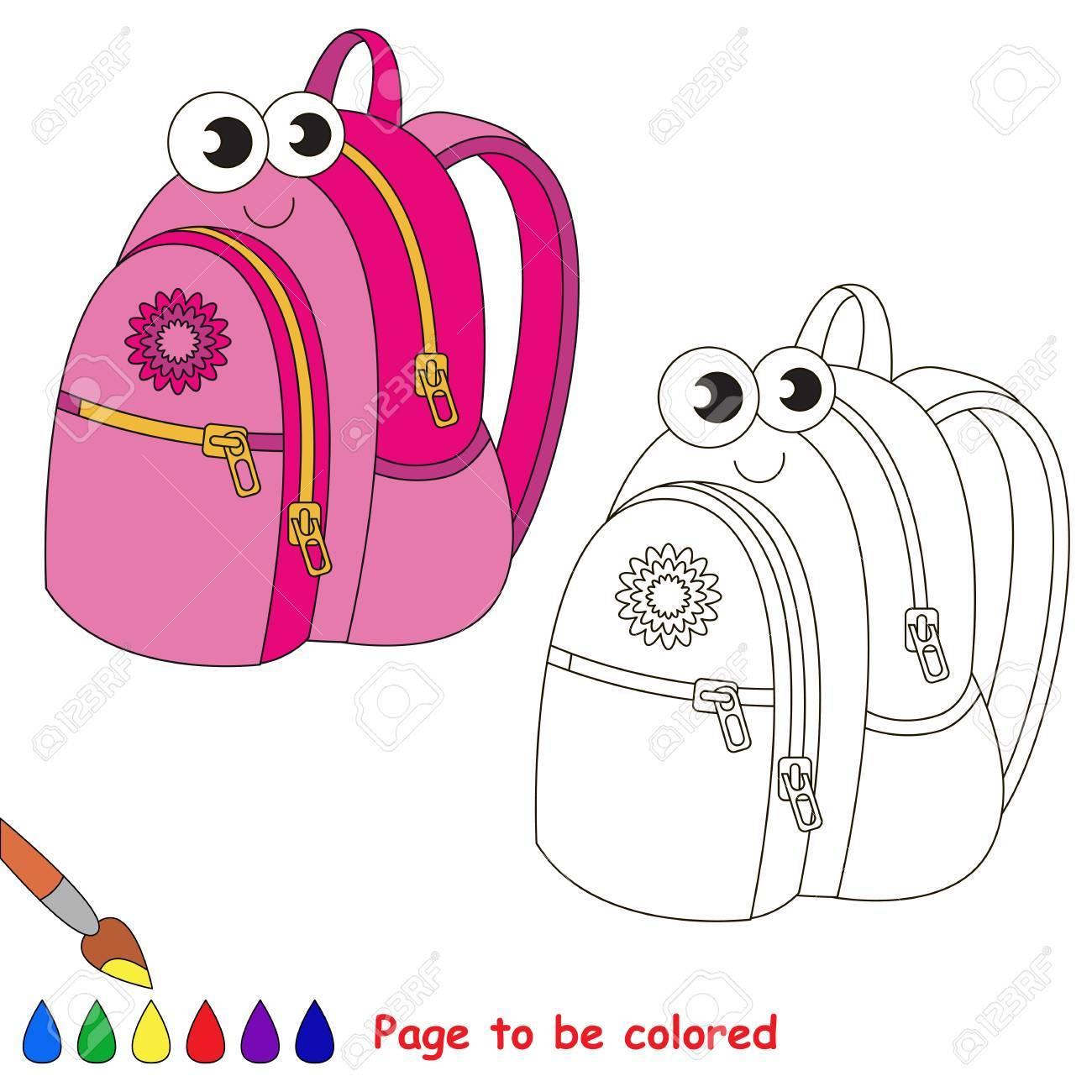 Mochila Escolar Para Colorear Libro De Colorear Para Educar A Los Niños Aprende Colores Juego Educativo Visual Nivel Simple Páginas Para