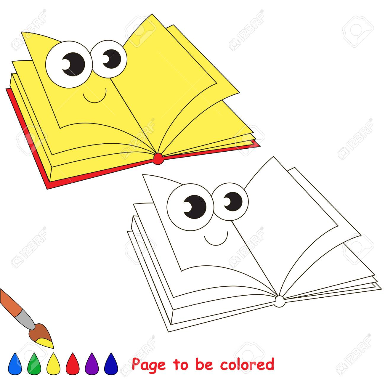 Notebook to be colored. Coloring book to educate kids. Learn..