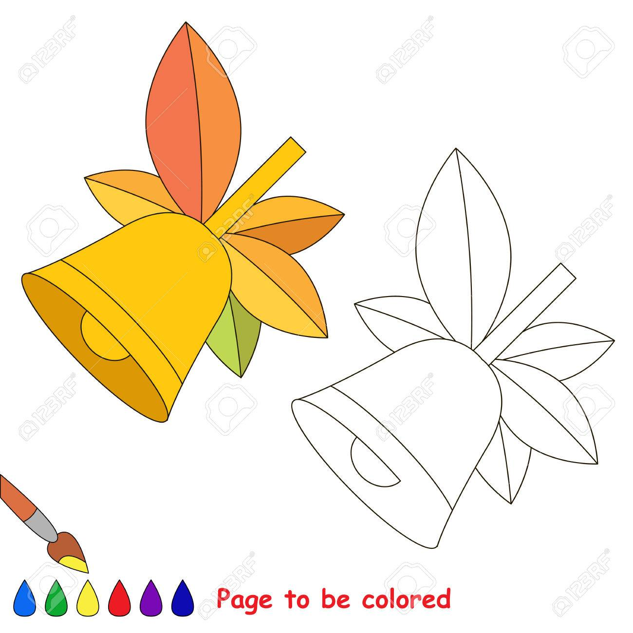School Bell With Autumn Leaves To Be Colored The Coloring Book