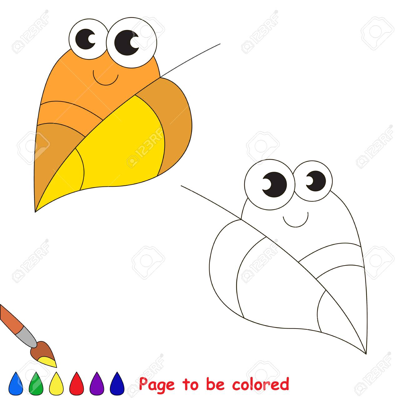 Funny Autumn Leaf To Be Colored. Coloring Book To Educate Kids ...