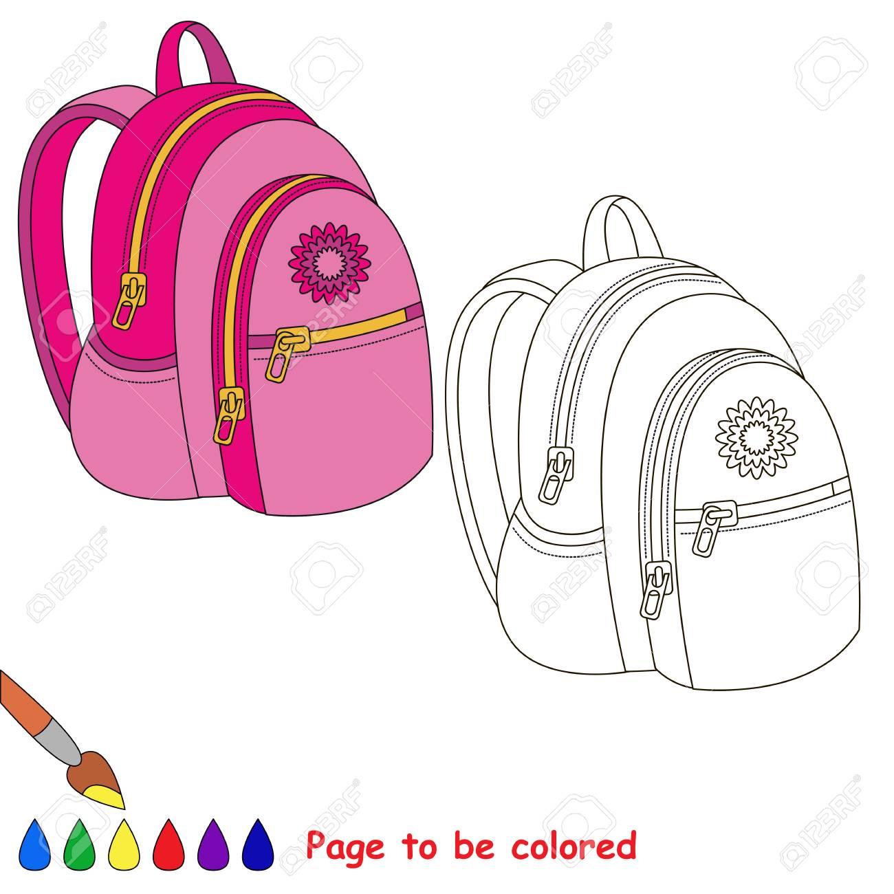 Bolsa De Escuela De Color Rosa Para Ser Coloreado El Libro Para Colorear Para Educar A Los Niños Preescolares Con El Niño Fácil De Juegos