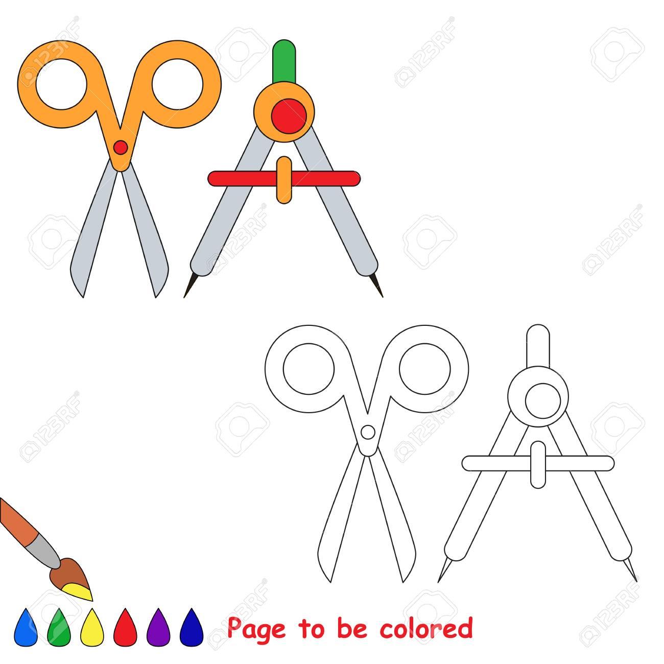 Vettoriale Forbici E Divisori Da Colorare Il Libro Da Colorare