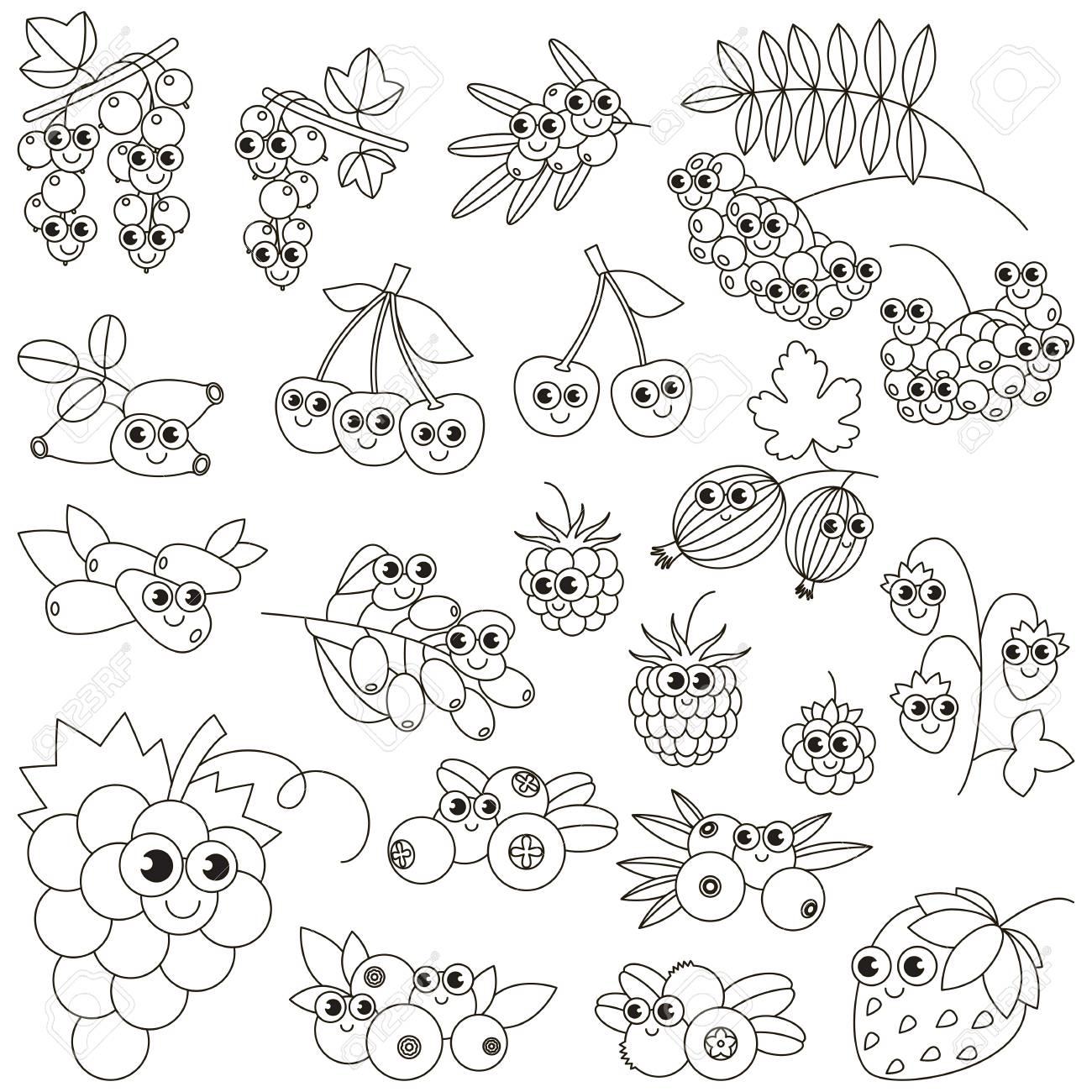 Conjunto De Divertidos Dibujos Animados Bayas Para Colorear Libro De Colorear Para Educar A Los Niños Aprende Colores Juego Educativo Visual Fácil