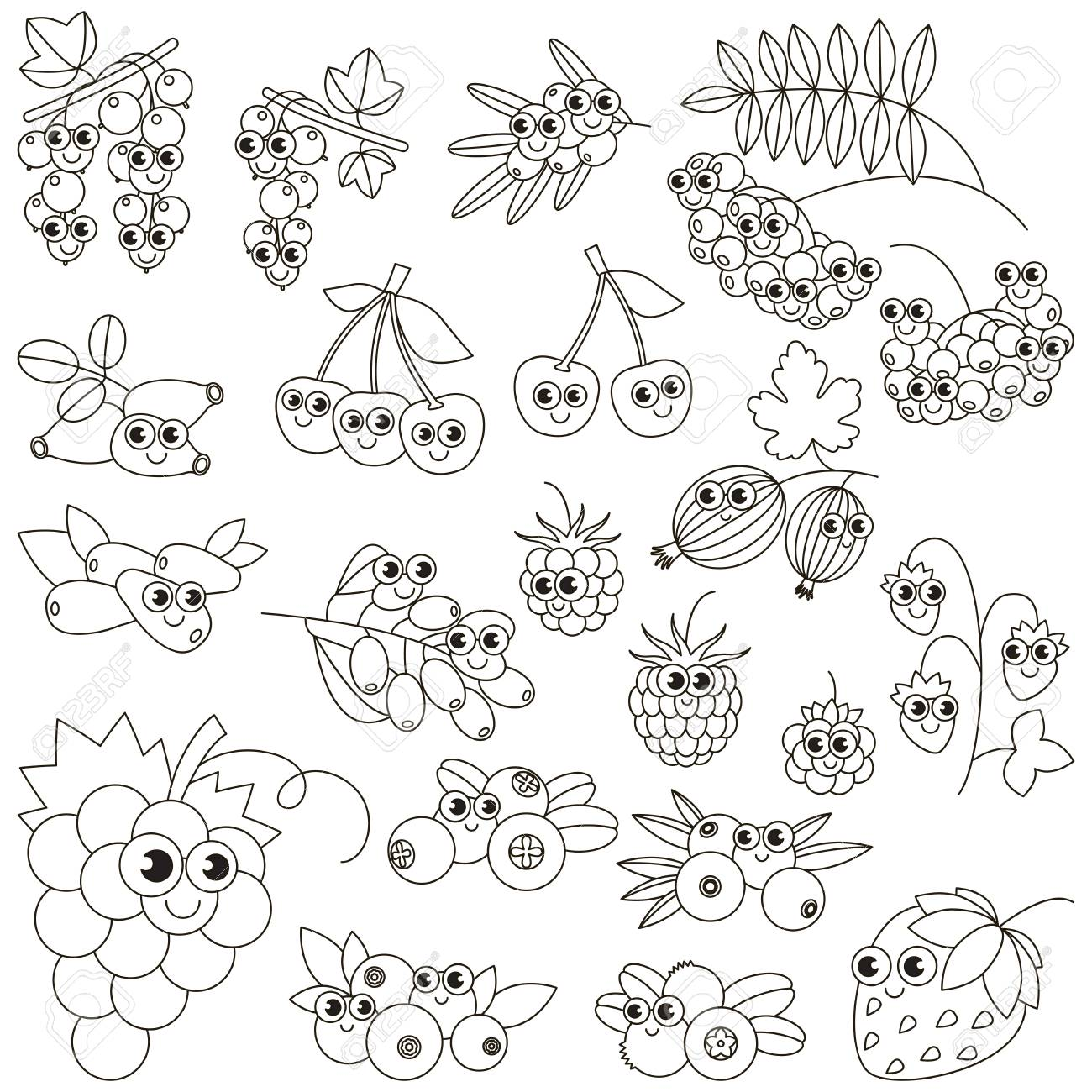 Set Of Funny Cartoon Berries To Be Colored. Coloring Book To ...