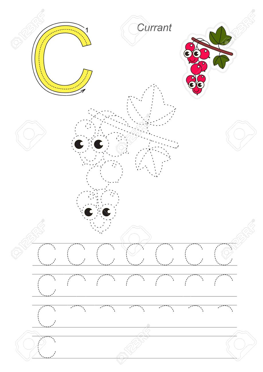 Vector Illustrated Worksheet To Preschool Children Learn Handwriting ...