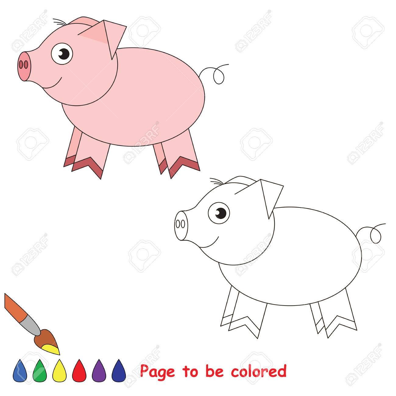 ピンクの貯金箱の色にします塗り絵簡単子供教育ゲームと難易度の簡単な