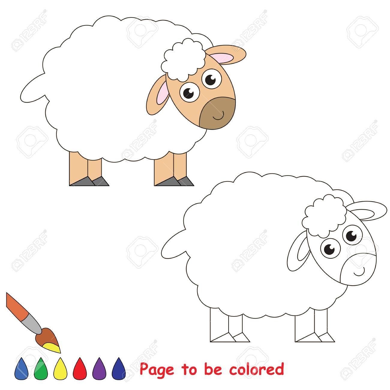 Vettoriale Pecora Da Colorare Il Libro Da Colorare Per Educare I Bambini In Eta Prescolare Con Giochi Educativi Per Bambini Facili E L Istruzione Primaria Di Semplice Livello Di Gioco Image 74023571