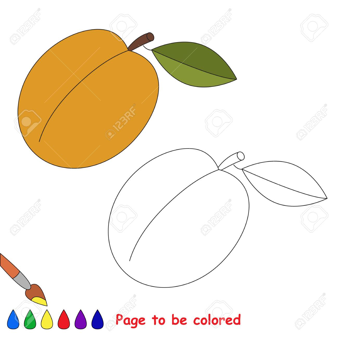 アプリコット色にします塗り絵は子供を教育します色を学ぶ視覚的