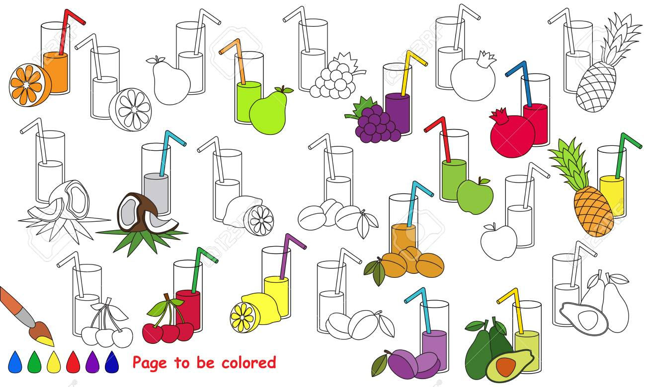 Juices Set To Be Colored. Coloring Book To Educate Kids. Learn ...