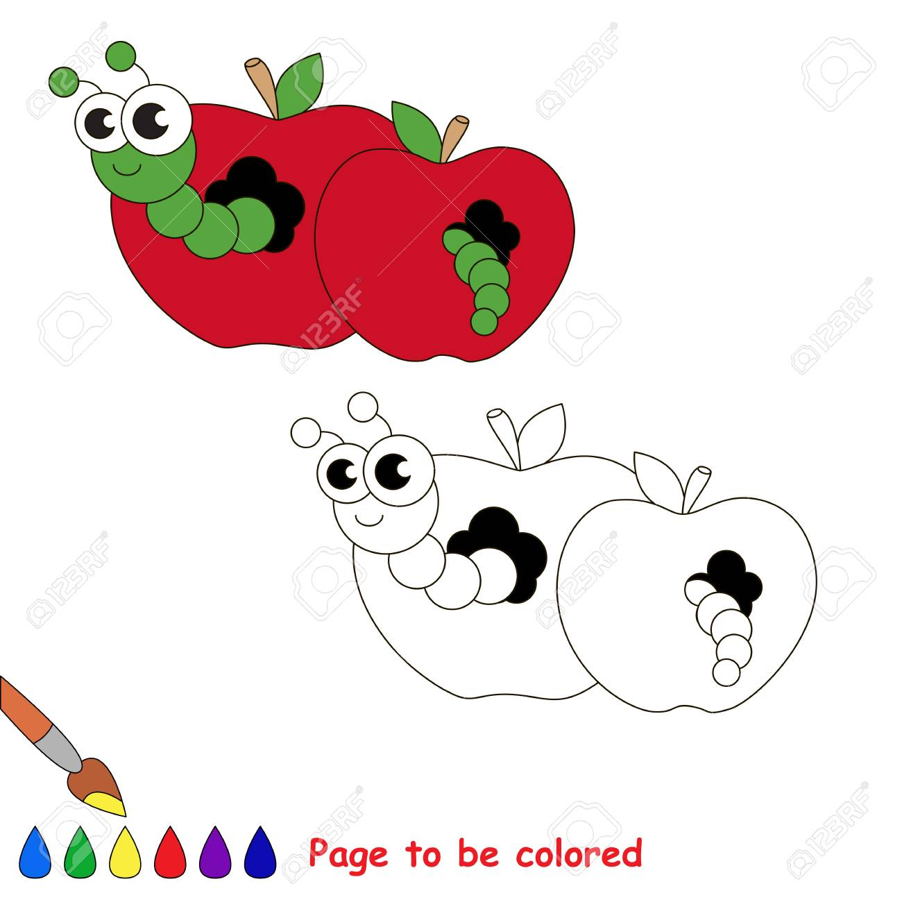 Red Apple And Worm To Be Colored Coloring Book Educate Kids Learn Colors