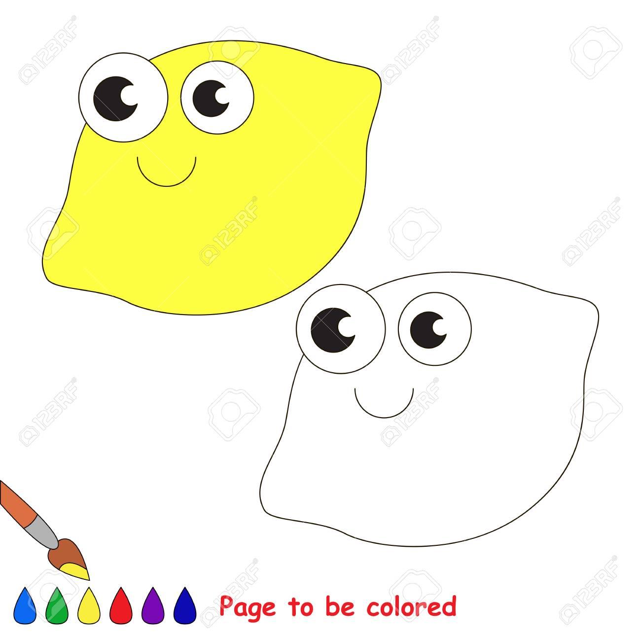 Un Limón Para Colorear Libro De Colorear Para Educar A Los Niños Aprende Colores Juego Educativo Visual Fácil Juego Para Niños Y Educación
