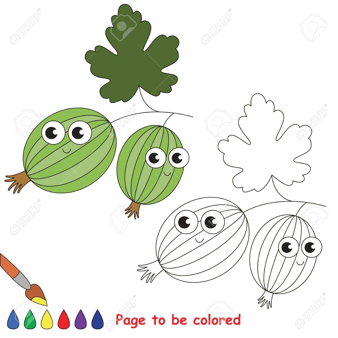 Cute Gooseberry To Be Colored. Coloring Book To Educate Kids ...
