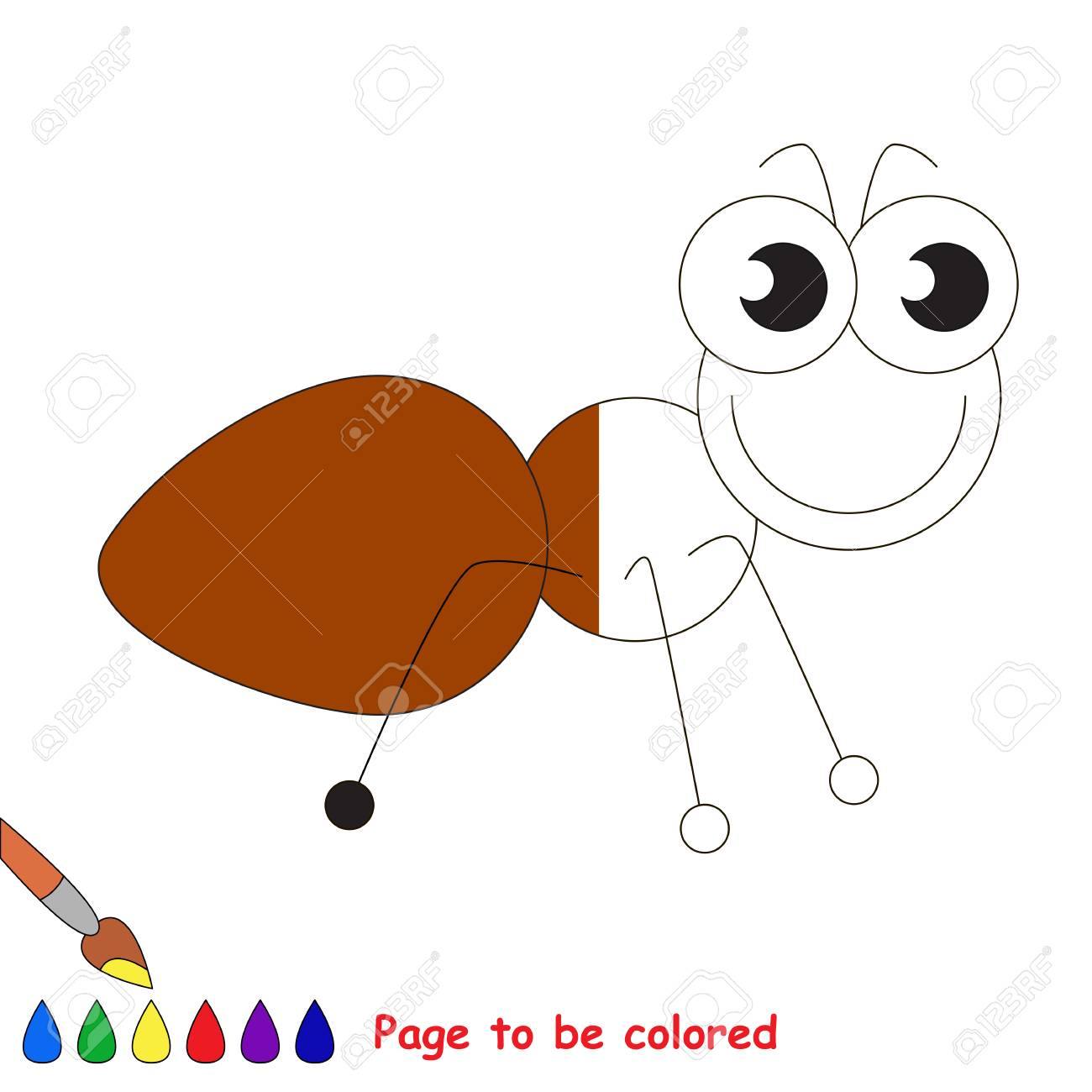 Brown Ant To Be Colored The Coloring Book To Educate Preschool