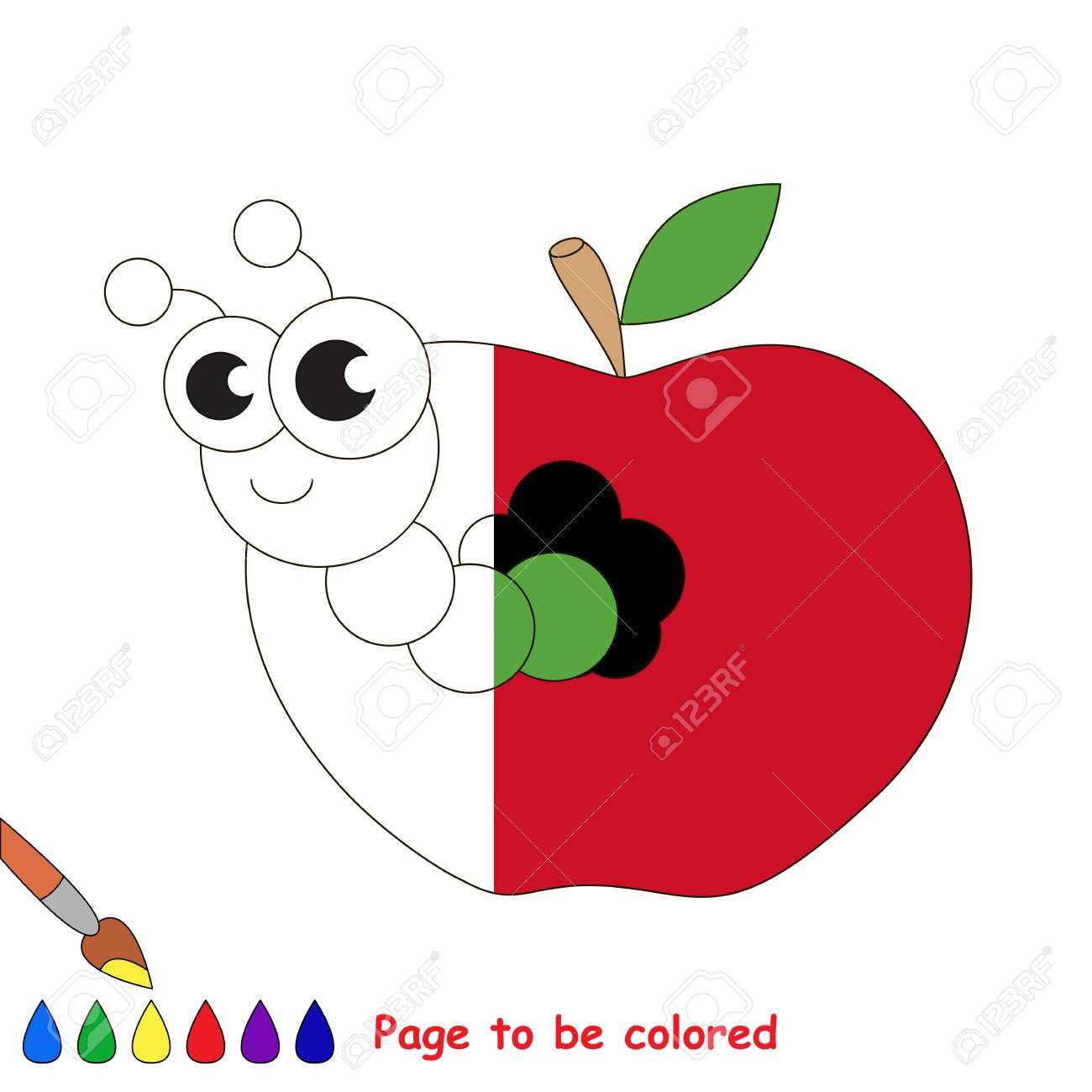 Gusano De Manzana Para Colorear, El Libro Para Colorear Para Educar ...