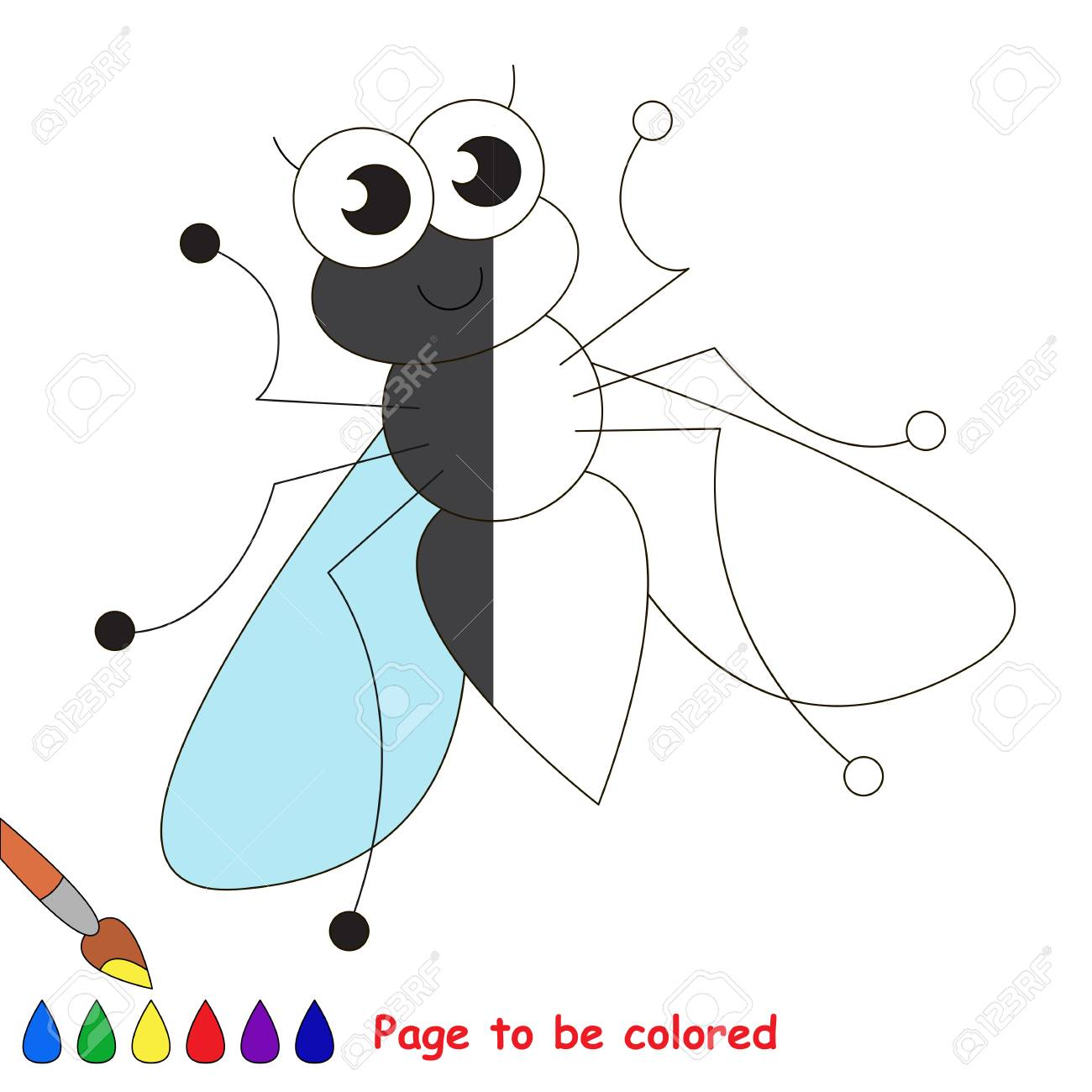 Linda Mosca Para Colorear El Libro Para Colorear Para Educar A Los Niños En Edad Preescolar Con Juegos Educativos Fáciles Para Niños Y Educación