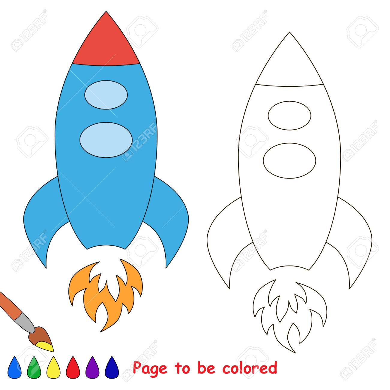 Rocket To Be Colored, The Coloring Book To Educate Preschool ...