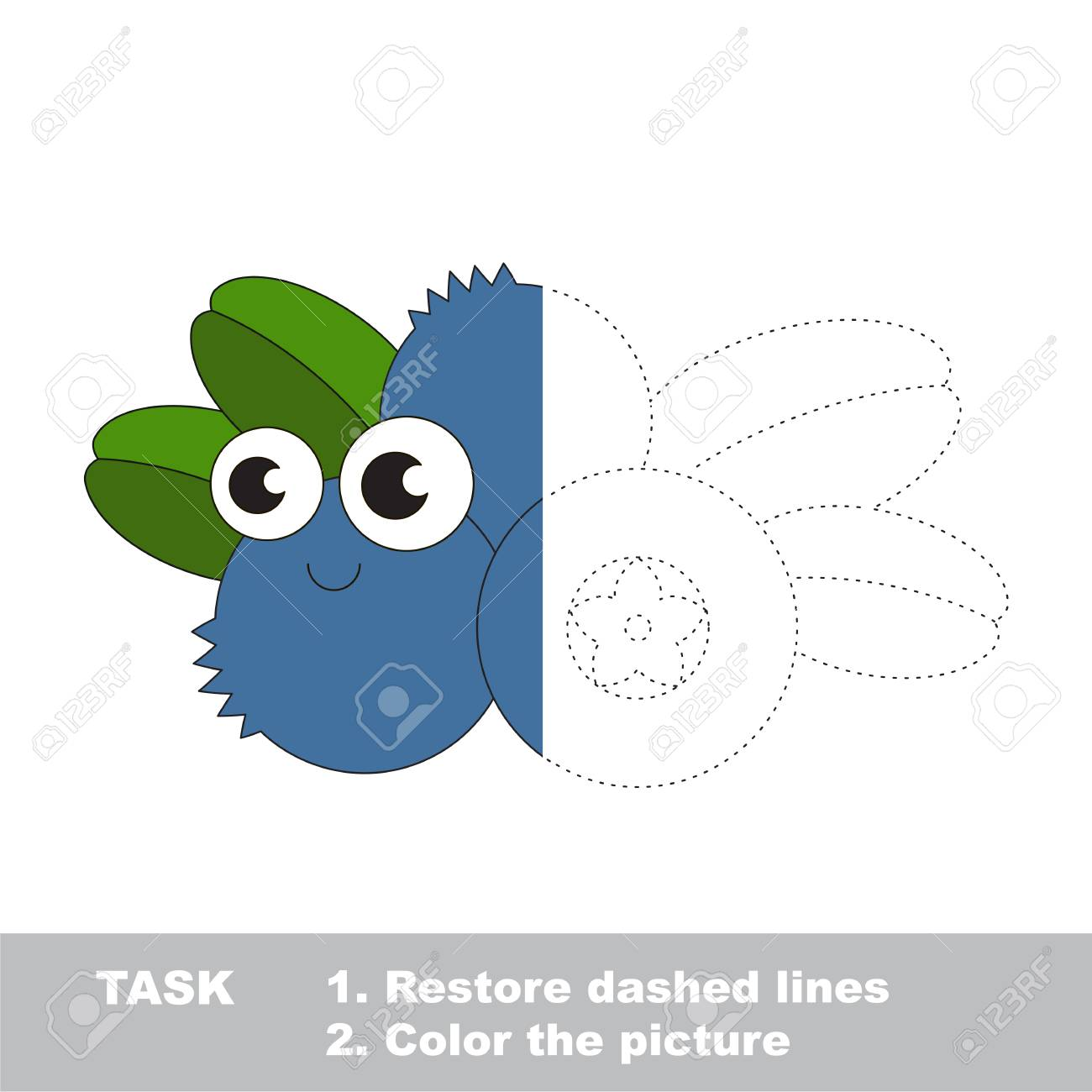 Blueberry in vector to be traced. Restore dashed line and color the picture. Visual game for children. Easy educational kid gaming. Simple level of difficulty. Worksheet for kids education. - 74023825