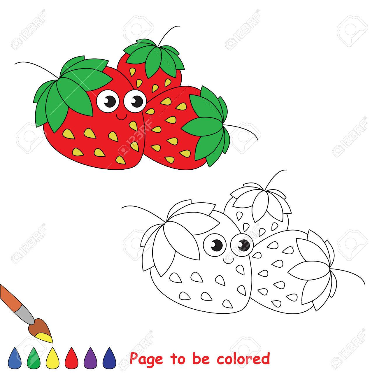 Tres Fresas Para Colorear. Libro Para Colorear Para Educar A Los ...