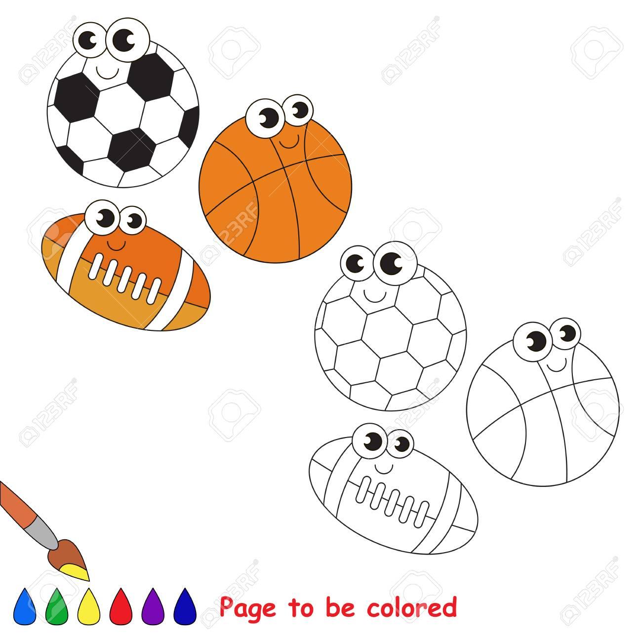 Kleurplaten Kleuren Spelletjes.Verschillende Te Kleuren Ballen Kleurboek Om Kinderen Op Te Voeden Leer Kleuren Visueel Educatief Spel Eenvoudig Niveau Kleurplaten