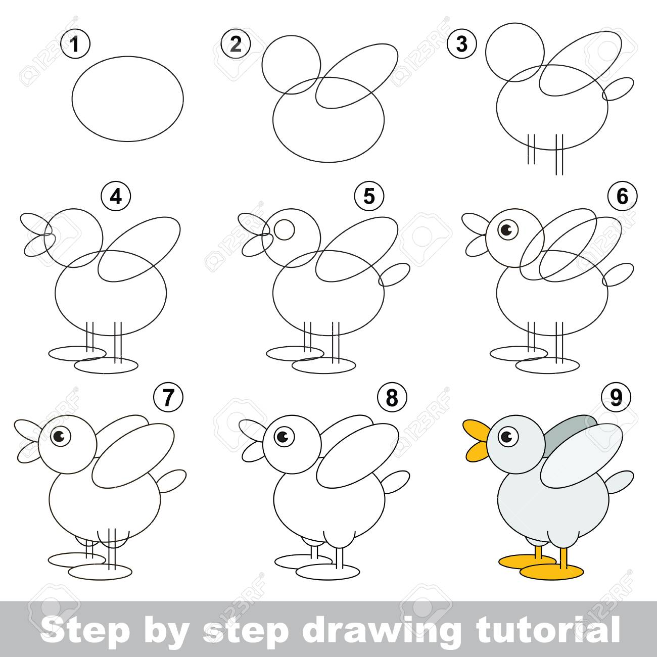 Kid education and gaming - the drawing tutorial for preschool..