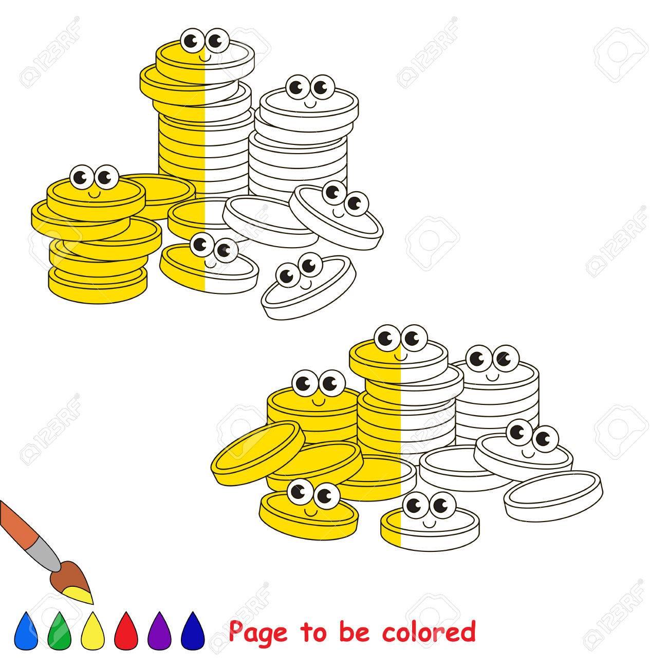Un Montón De Monedas En Efectivo De Oro, El Libro Para Colorear Para ...